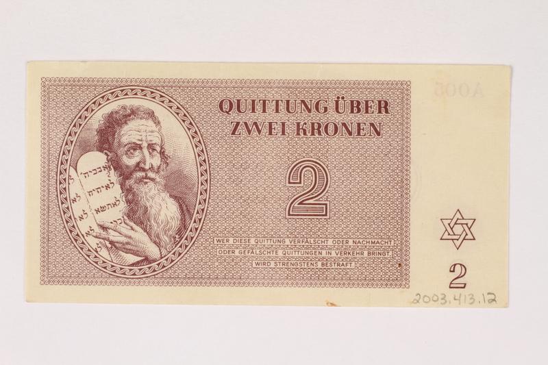 2003.413.12 back Theresienstadt ghetto-labor camp scrip, 2 kronen note