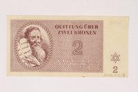 2003.413.12 back Theresienstadt ghetto-labor camp scrip, 2 kronen note  Click to enlarge