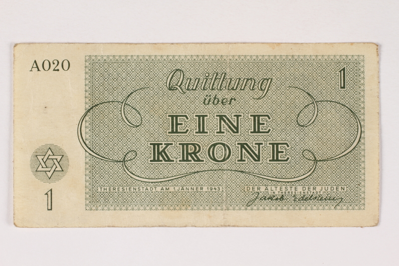 2003.413.13 front Theresienstadt ghetto-labor camp scrip, 1 krone note