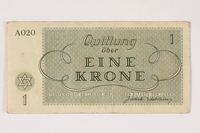 2003.413.13 front Theresienstadt ghetto-labor camp scrip, 1 krone note  Click to enlarge