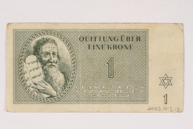 2003.413.13 back Theresienstadt ghetto-labor camp scrip, 1 krone note