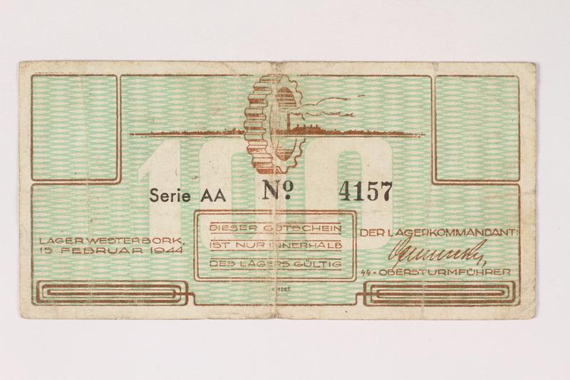 2003.413.14 front Westerbork transit camp voucher, 100 cent note