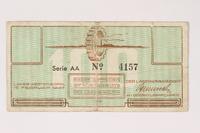 2003.413.14 front Westerbork transit camp voucher, 100 cent note  Click to enlarge