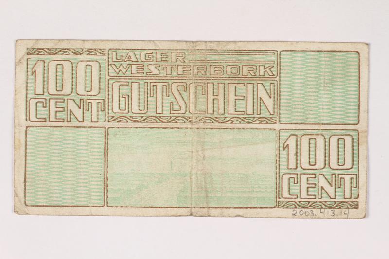2003.413.14 back Westerbork transit camp voucher, 100 cent note