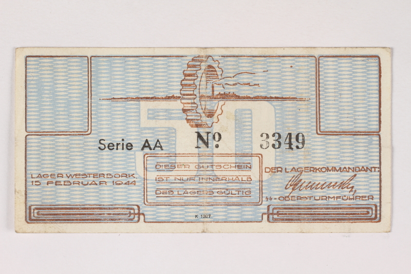 2003.413.15 front Westerbork transit camp voucher, 50 cent note