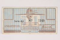 2003.413.15 front Westerbork transit camp voucher, 50 cent note  Click to enlarge