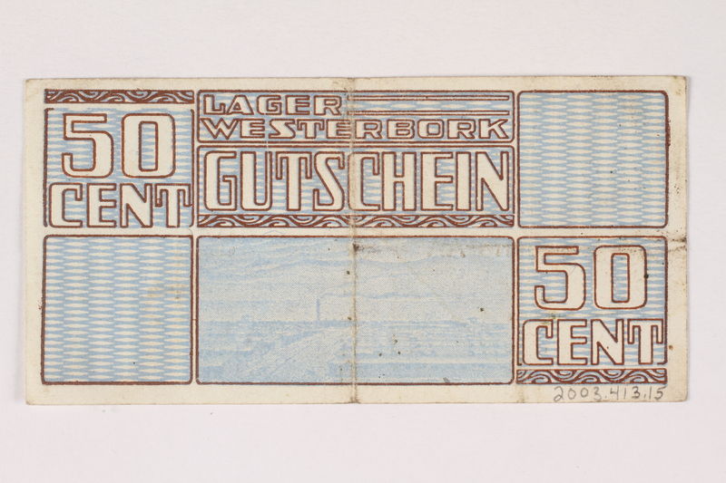 2003.413.15 back Westerbork transit camp voucher, 50 cent note