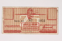 2003.413.16 front Westerbork transit camp voucher, 25 cent note  Click to enlarge