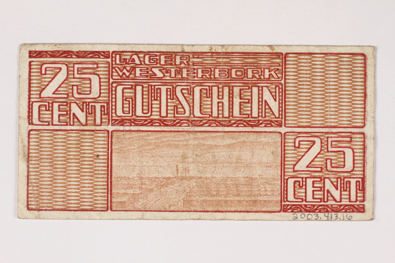 2003.413.16 back Westerbork transit camp voucher, 25 cent note