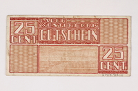 2003.413.16 back Westerbork transit camp voucher, 25 cent note  Click to enlarge