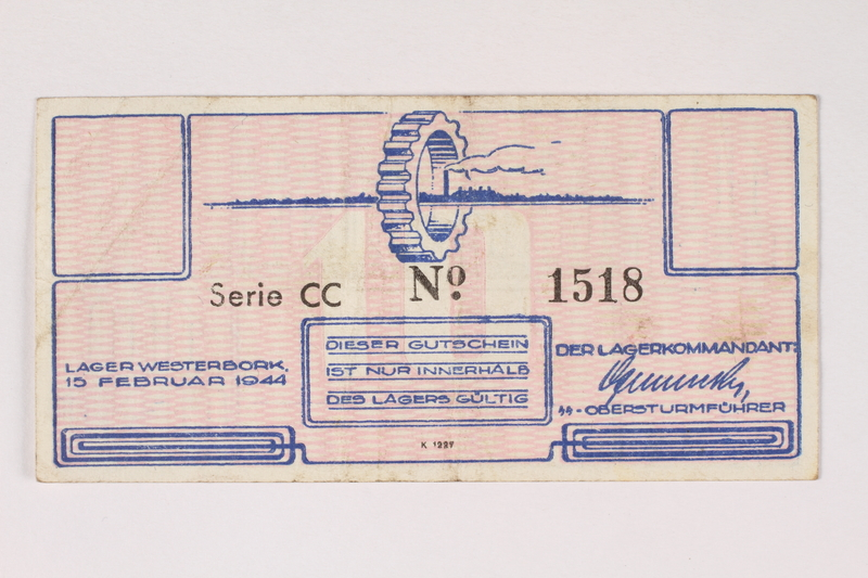 2003.413.17 front Westerbork transit camp voucher, 10 cent note