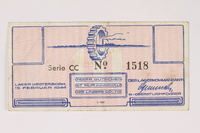 2003.413.17 front Westerbork transit camp voucher, 10 cent note  Click to enlarge
