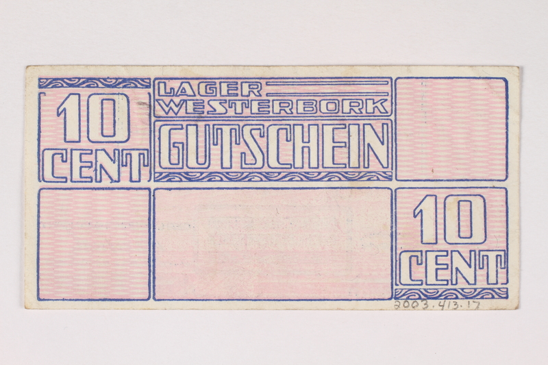 2003.413.17 back Westerbork transit camp voucher, 10 cent note