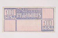2003.413.17 back Westerbork transit camp voucher, 10 cent note  Click to enlarge