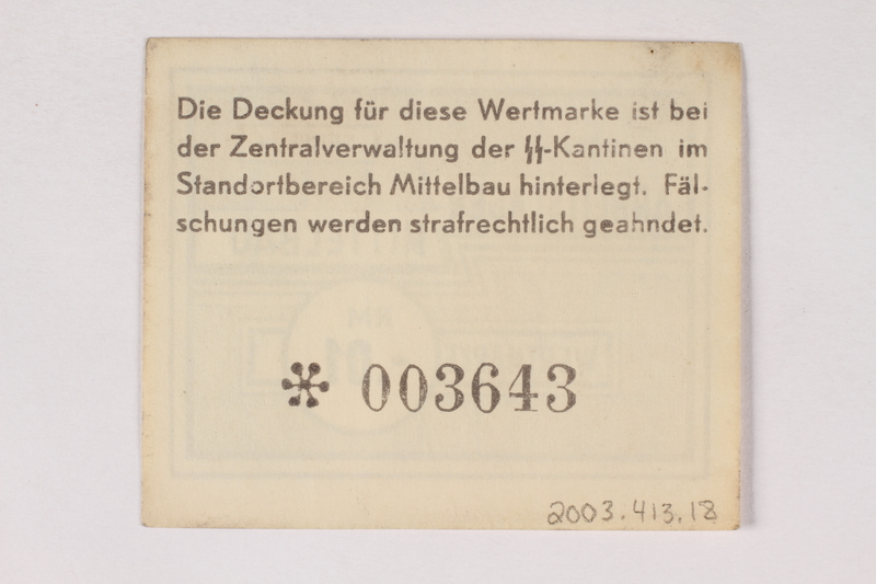 2003.413.18 back Mittelbau forced labor camp scrip, .01 Reichsmark note