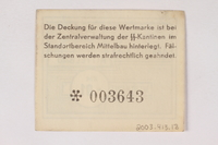 2003.413.18 back Mittelbau forced labor camp scrip, .01 Reichsmark note  Click to enlarge