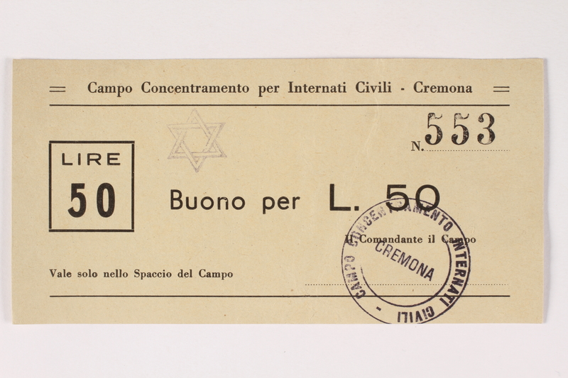 2003.413.19 front Cremona concentration camp scrip, 50 Lire note with a Star of David stamp