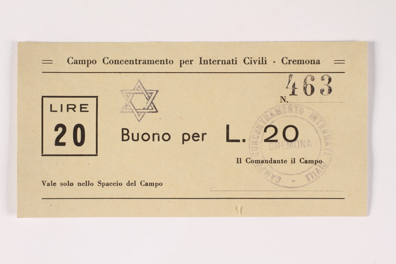 2003.413.20 front Cremona concentration camp scrip, 20 Lire note with a Star of David stamp
