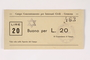 Cremona concentration camp scrip, 20 Lire note with a Star of David stamp
