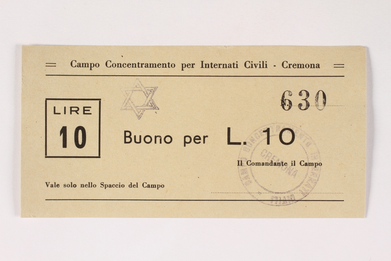 2003.413.21 front Cremona concentration camp scrip, 10 Lire note with a Star of David stamp