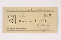 2003.413.21 front Cremona concentration camp scrip, 10 Lire note with a Star of David stamp  Click to enlarge