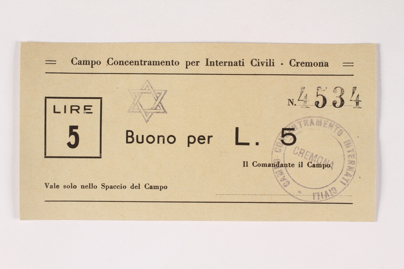 2003.413.22 front Cremona concentration camp scrip, 5 Lire note with a Star of David stamp