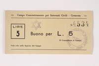 2003.413.22 front Cremona concentration camp scrip, 5 Lire note with a Star of David stamp  Click to enlarge