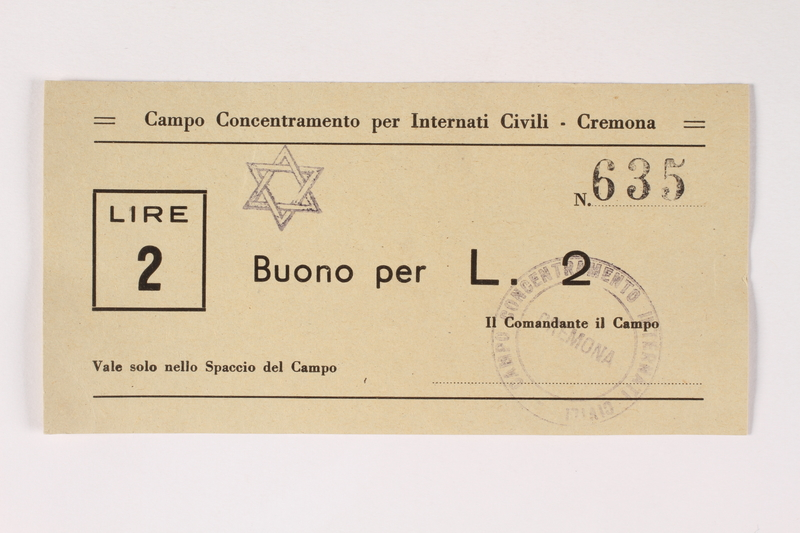 2003.413.23 front Cremona concentration camp scrip, 2 Lire note with a Star of David stamp