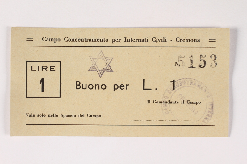 2003.413.24 front Cremona concentration camp scrip, 1 Lire note with a Star of David stamp