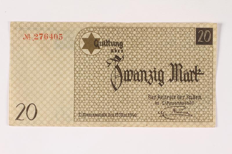 2003.413.26 front Łódź (Litzmannstadt) ghetto scrip, 20 mark note