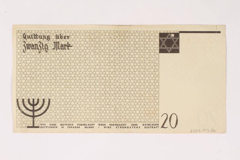 2003.413.26 back Łódź (Litzmannstadt) ghetto scrip, 20 mark note