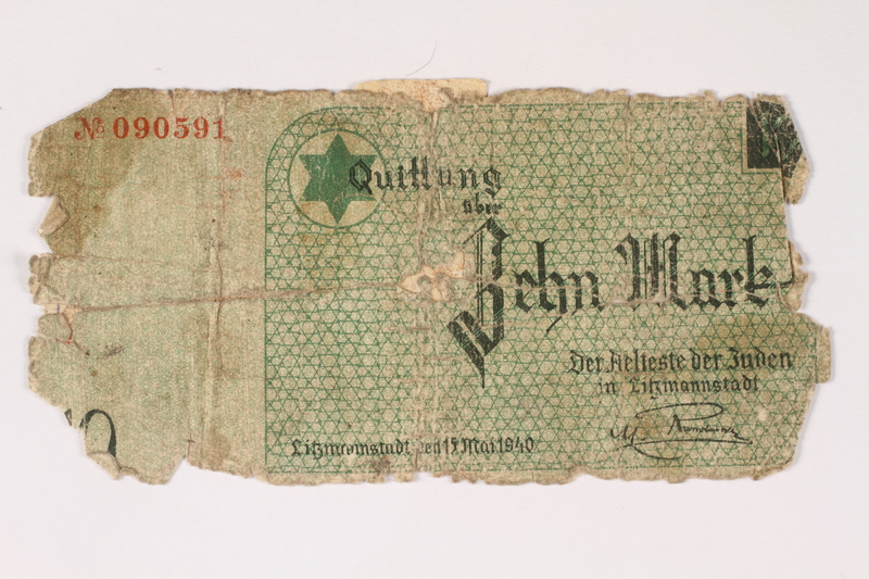 2003.413.27 front Łódź (Litzmannstadt) ghetto scrip, 10 mark note