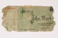 2003.413.27 front Łódź (Litzmannstadt) ghetto scrip, 10 mark note  Click to enlarge