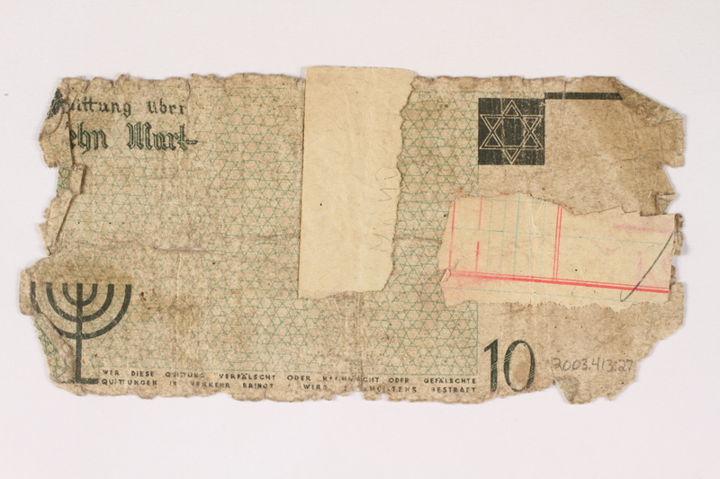 2003.413.27 back Łódź (Litzmannstadt) ghetto scrip, 10 mark note