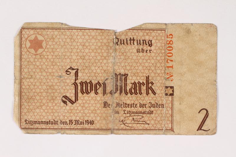2003.413.29 front Łódź (Litzmannstadt) ghetto scrip, 2 mark note
