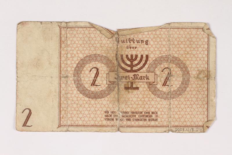 2003.413.29 back Łódź (Litzmannstadt) ghetto scrip, 2 mark note