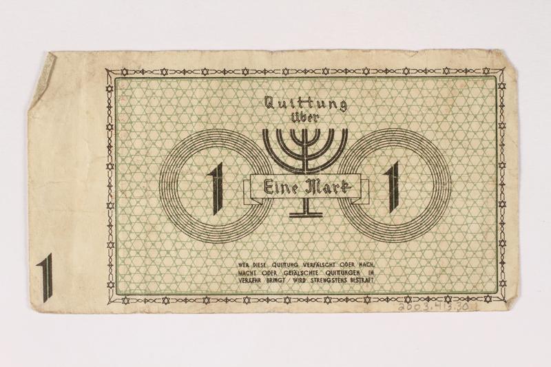 2003.413.30 back Łódź (Litzmannstadt) ghetto scrip, 1 mark note
