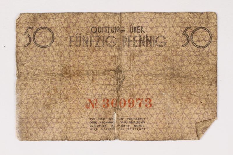 2003.413.31 front Łódź (Litzmannstadt) ghetto scrip, 50 pfennig note