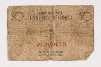 2003.413.31 front Łódź (Litzmannstadt) ghetto scrip, 50 pfennig note  Click to enlarge