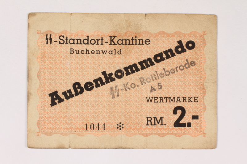 2003.413.32 front Buchenwald subcamp scrip, 2 Reichsmark note for use in Rottleberode
