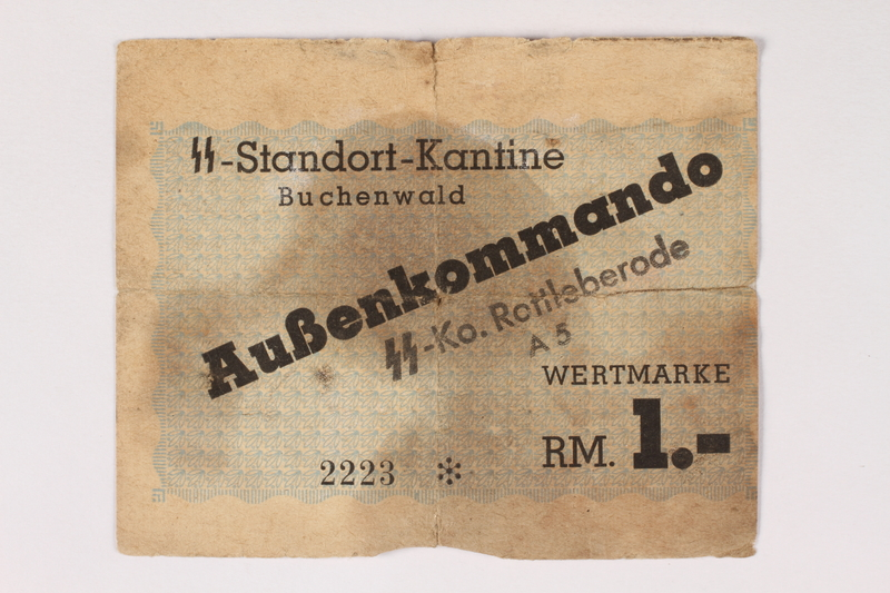 2003.413.33 front Buchenwald subcamp scrip, 1 Reichsmark note for use in Rottleberode