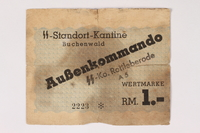 2003.413.33 front Buchenwald subcamp scrip, 1 Reichsmark note for use in Rottleberode  Click to enlarge