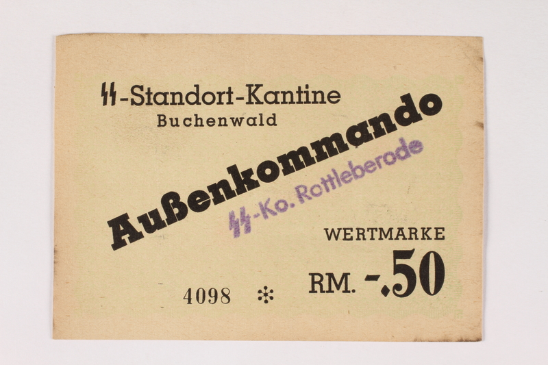 2003.413.35 front Buchenwald subcamp scrip, -.50 Reichsmark note for use in Rottleberode