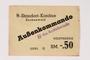 Buchenwald subcamp scrip, -.50 Reichsmark note for use in Rottleberode
