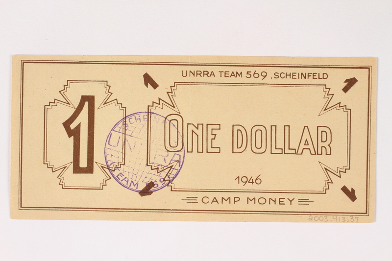 2003.413.37 back Scheinfeld Displaced Persons Camp scrip, 1 dollar note