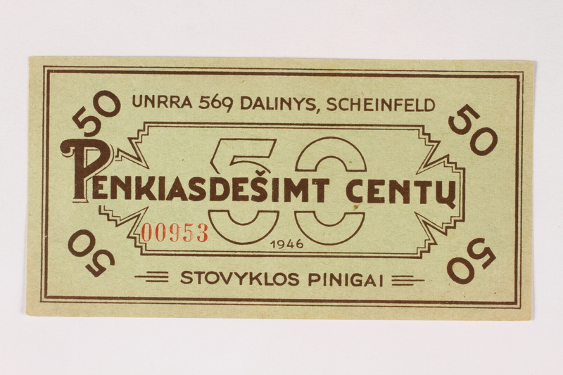 2003.413.38 front Scheinfeld Displaced Persons Camp scrip, 50 cent note