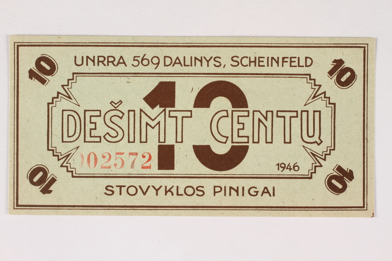 2003.413.39 front Scheinfeld Displaced Persons Camp scrip, 10 cent note