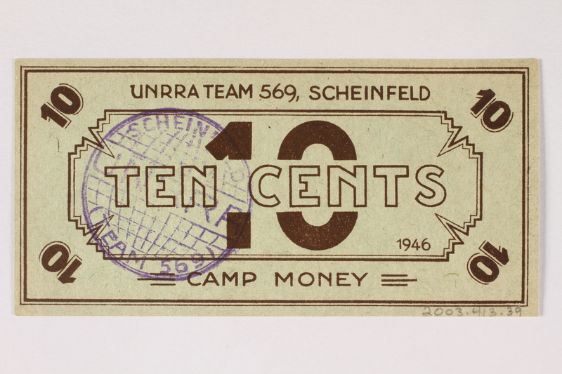 2003.413.39 back Scheinfeld Displaced Persons Camp scrip, 10 cent note