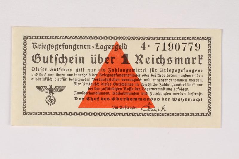 2003.413.40 front German Prisoner of War camp general issue currency, kriegsgefangenen lagergeld, 1 Reichsmark