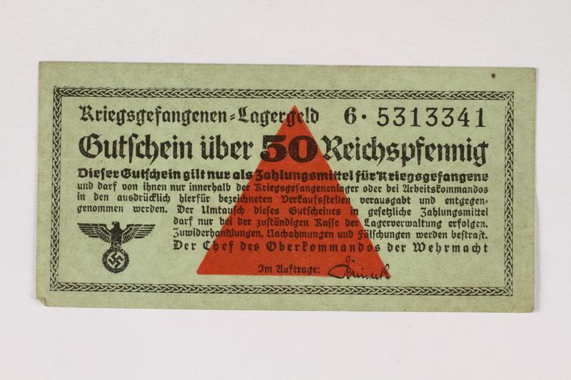 2003.413.41 front German Prisoner of War Camp general issue currency, kriegsgefangenen lagergeld, 50 Reichspfennig